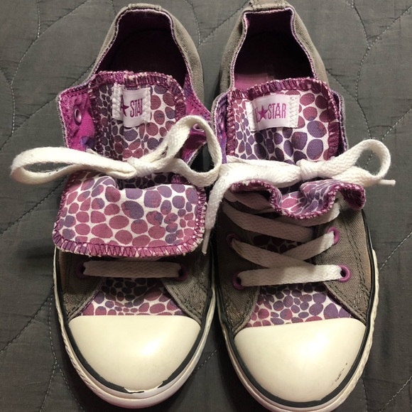 Converse Girls Size 3 Youth Gray Double
